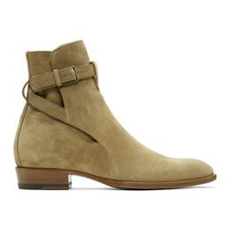Saint Laurent Taupe Suede Wyatt Jodhpur Boots 498372BT300