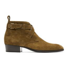 Saint Laurent Brown Suede Wyatt Crossed Buckles Boots 579631BT300