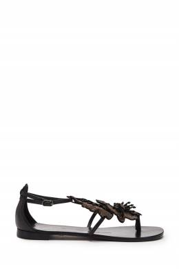 Черные сандалии с декором в виде цветов Lola Cruz 1698135301