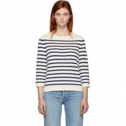 A.P.C. Off-White and Navy Stripe Claudine Pullover 192252F09600203GB