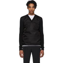 Prada Black Wool and Nylon V-Neck Sweater 192962M20600102GB