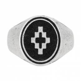 Marcelo Burlon County Of Milan Silver and Black Cross Ring 192539M14700103GB