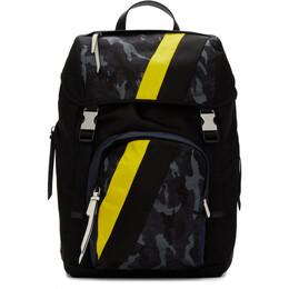 Prada Black Camo Technical Fabric Backpack 2VZ135 V OPD 2ACN SFU