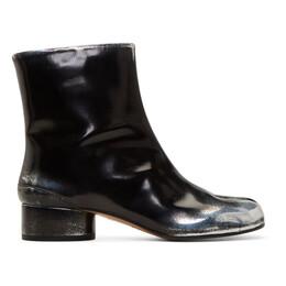 Maison Margiela Black and Silver Spray Mid Heel Tabi Boots S58WU0273 P2783
