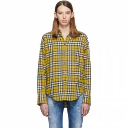 Dsquared2 Yellow Plaid Easy Dean Shirt S75DL0631 S52084