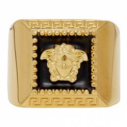 Versace Gold and Black Medusa Ring 192404M14701002GB