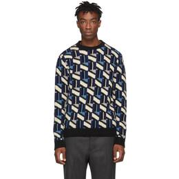 Prada Black and Navy Intarsia Sweater 192962M20100802GB