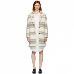 Isabel Marant Etoile Off-White Striped Wool Dante Coat 192599F05900701GB