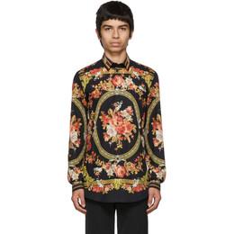 Dolce & Gabbana Black Flower Print Shirt 192003M19200506GB