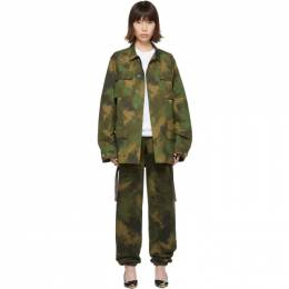 Off-White Green Paintbrush Camouflage Field Jacket OMEL007E19A660189901