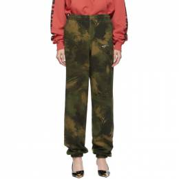 Off-White Green Paintbrush Camouflage Slim Lounge Pants OMCH020E19E300189901