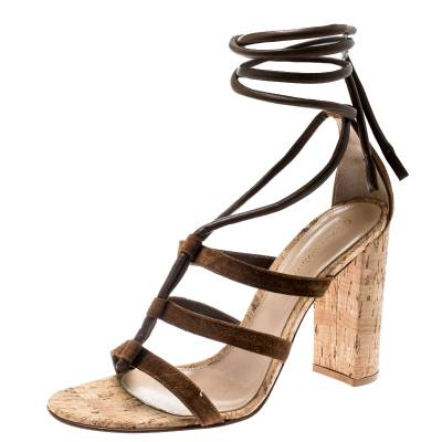 Gianvito Rossi Brown Leather And Suede Block Cork Heel Strappy Sandals Size 40.5 183876 - 1