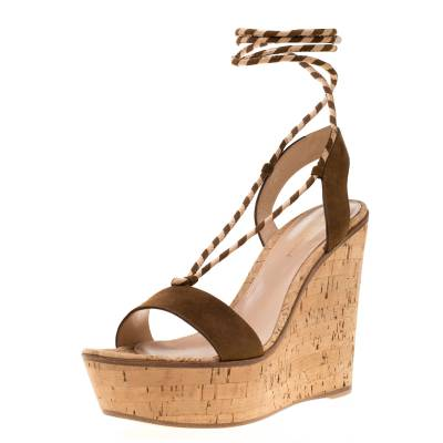 Gianvito Rossi Brown Suede Ankle Wrap Cork Wedge Sandals Size 38.5 192756 - 1