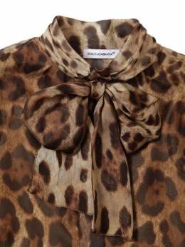 Рубашка Из Шёлкового Шифона Спринтом Логотипа Dolce & Gabbana 69I8YN092-SFkxM001