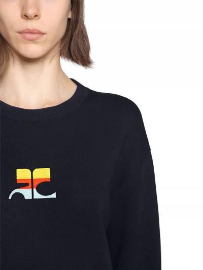 Хлопковый Свитер С Вышивкой И Логотипом Courreges 67I1L8002-NDg00 - 2