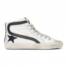 Golden Goose White Shearling Slide High-Top Sneakers G35WS595.A41