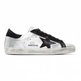 Golden Goose Silver and Black Superstar Sneakers GCOMS590.A8