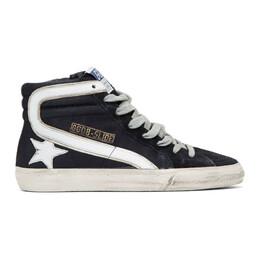 Golden Goose Navy Slide High-Top Sneakers GCOWS595.A2