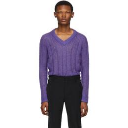 Prada Purple Knit V-Neck Sweater 192962M20600403GB