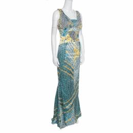 Just Cavalli Multicolor Snakeskin Print Flared Bottom Sleeveless Maxi Dress L 154911