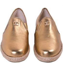 Chanel Metallic Gold Leather Espadrille Loafers Size 39
