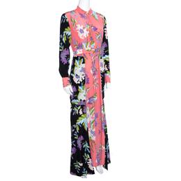 Diane Von Furstenberg Multicolor Floral Printed Silk Long Sleeve Maxi Shirt Dress S 155852