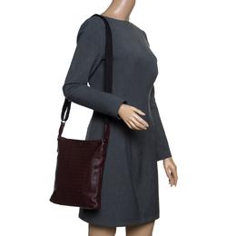 Bottega Veneta Burgundy Intrecciato Leather Crossbody Bag 153121
