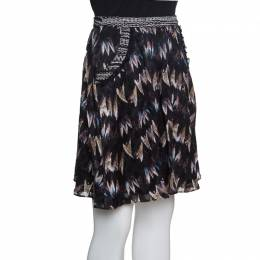 Diane Von Furstenburg Black Printed Silk Jacquard Gathered Marisa Skirt XS Diane Von Furstenberg 151695