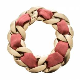 Chanel Pink Fabric Gold Tone Chain Link Bracelet 152133