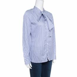 Dsquared2 White and Blue Striped Cotton Neck Tie Long Sleeve Shirt M 154193