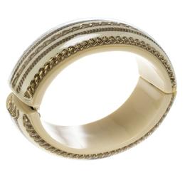 Chanel CC Crystal Chain Cream Resin Wide Oval Cuff Bracelet 151642
