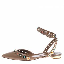 Aquazzura Beige Leather Byzantine Stud Embellished Pointed Toe Flat Sandals Size 38 153812