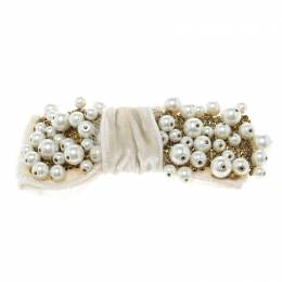 Dolce&Gabbana White Faux Pearl Embellished Cream Bow Brooch