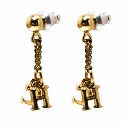 Carolina Herrera CH Gold Tone Drop Earrings