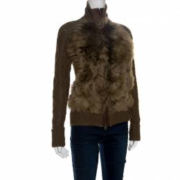 Ralph Lauren Brown Wool and Angora Knit Fur Panel Detail Zip Front Jacket XS 150817