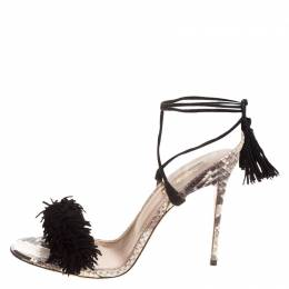Aquazzura Two Tone Fringed Suede and Python Wild Thing Tasseled Ankle Wrap Sandals Size 38 148730