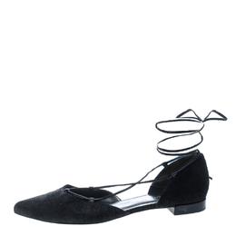 Stuart Weitzman Black Pyrite Fabric Giligan Lace Up Ballet Flats Size 40.5