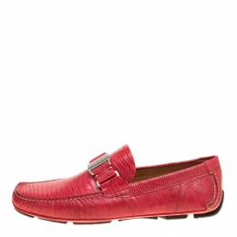 Salvatore Ferragamo Coral Red Lizard Sardegna Loafers Size 41.5