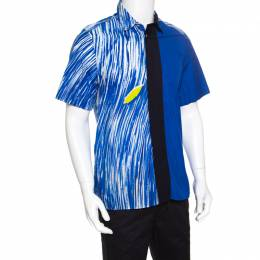 Kenzo Blue Wave Printed Colorblock Cotton Short Sleeve Button Front Shirt M 149895