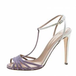 Sergio Rossi Purple/White Suede and Leather T-Strap Sandals Size 38.5 145481