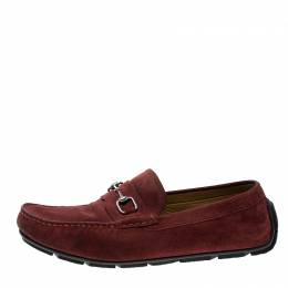 Gucci Red Suede Horsebit Loafers Size 44 142872