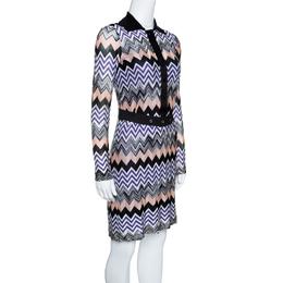 Missoni Multicolor Chevron Pattern Knit Belted Dress S 143620