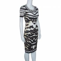 Roberto Cavalli Animal Printed Knit Short Sleeve Bodycon Dress S 144676