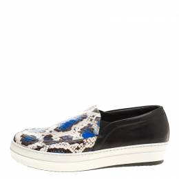 Alexander McQueen Two Tone Elaphe Snakeskin and Leather Platform Slip On Sneakers Size 41 141330