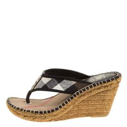 Burberry Black Novacheck Canvas Espadrille Thong Wedge Sandals Size 35 140081