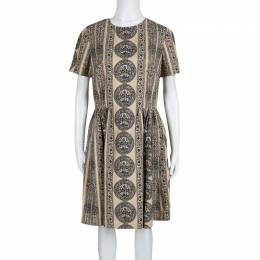 Valentino Beige Medallion Printed Cotton Pleated Bambolina Dress M 139464