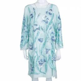 Marchesa Notte Light Blue Embroidered Embellished Long Sleeve Tulle Dress M