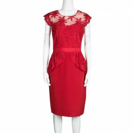 Marchesa Notte Scarlet Red Embroidered Lace Peplum Dress M