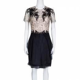 Marchesa Notte Beige and Black Floral Lace and Silk Organza Mini Dress M