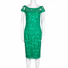 Tadashi Shoji Green Floral Embroidered Boat Neck Sheath Dress S